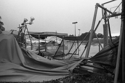 81-25; Wreckage of First Bubble Gym after Windstorm