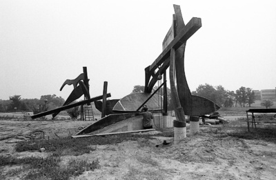 "83-7; Barry Tinsley's ""Southern Morraine"" Sculpture Outside Vadalabene Center"